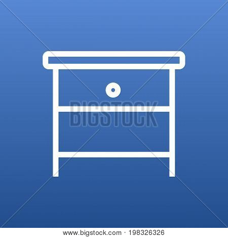 Isolated Bedside Table Outline Symbol On Clean Background
