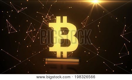 Golden Symbol Of Bitcoin, New Virtual Money On Various Digital Background, 3D Illustration