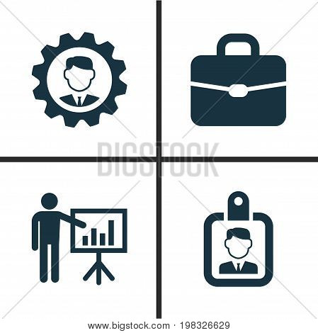 Trade Icons Set. Collection Of Leader, Suitcase, Presenting Man And Other Elements