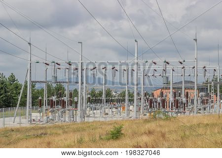Power Substation With Circuit Switcher, Regulators, Reclosers And Control Building