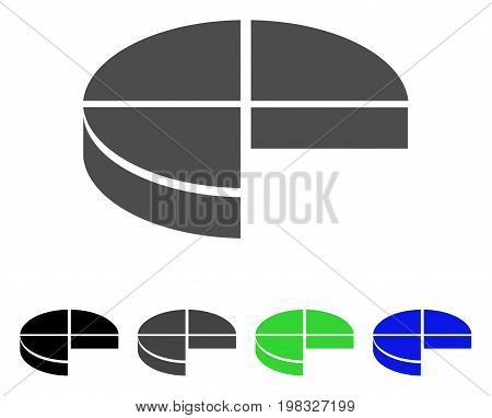 3D Pie Chart flat vector pictogram. Colored 3d pie chart, gray, black, blue, green pictogram versions. Flat icon style for graphic design.