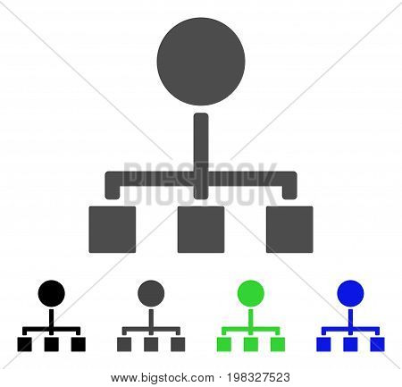 Hierarchy flat vector pictograph. Colored hierarchy, gray, black, blue, green icon variants. Flat icon style for graphic design.
