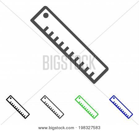 Length Ruler flat vector pictograph. Colored length ruler, gray, black, blue, green pictogram variants. Flat icon style for graphic design.