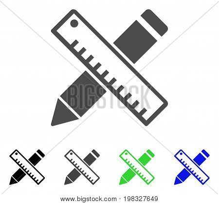Pen And Ruler Design Tools flat vector illustration. Colored pen and ruler design tools, gray, black, blue, green pictogram variants. Flat icon style for graphic design.
