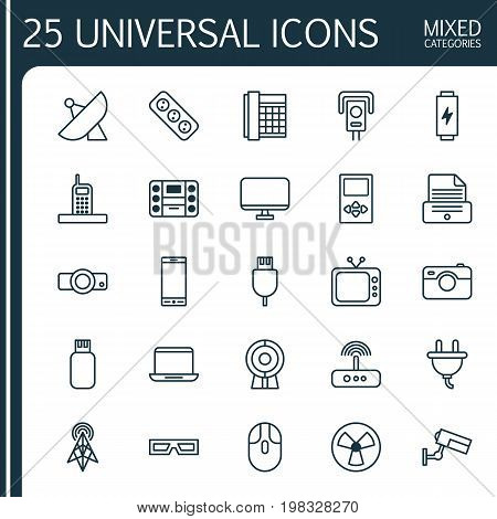 Icons Set. Collection Of Cctv, Extension Cord, Socket And Other Elements