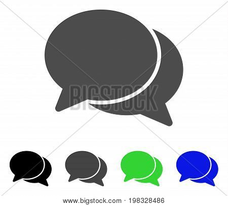 Chat flat vector illustration. Colored chat, gray, black, blue, green icon variants. Flat icon style for application design.