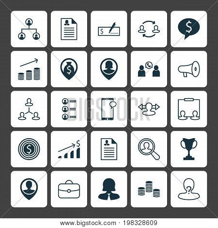 Hr Icons Set. Collection Of Bullhorn, Messaging, Money And Other Elements