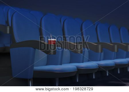 Row of blue movie cinema theater seats with drink. Premiere concept. Side view. 3D Rendering