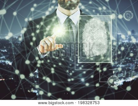 Businessman pointing at abstract digital finger print hologram on city background. Access and biometrics concept. Double exposure
