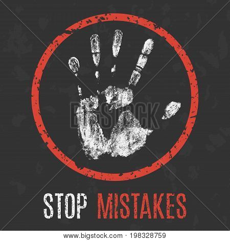 Vector illustration. Social problems of humanity. Stop mistakes.
