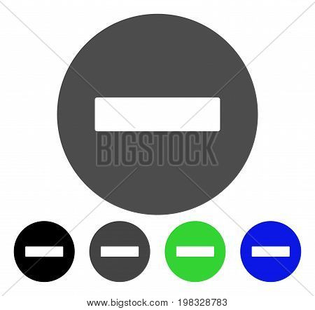 Forbidden flat vector illustration. Colored forbidden, gray, black, blue, green icon versions. Flat icon style for web design.