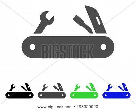 Multi-Tools Knife flat vector pictogram. Colored MULTI-TOOLS KNIFE, gray, black, blue, green icon variants. Flat icon style for web design.