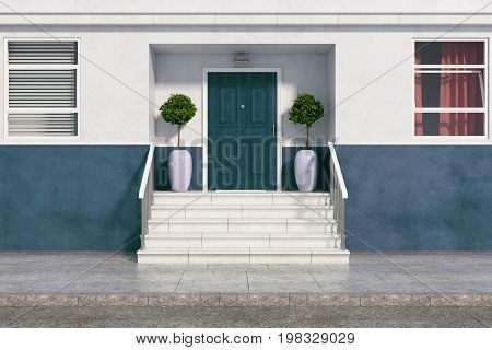 Front view of building with nice entrance and stairs. Real estate architecture exterior concept. 3D Rendering