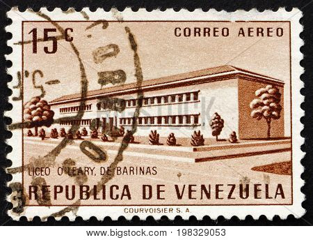 VENEZUELA - CIRCA 1957: a stamp printed in the Venezuela shows O'Leary School Barinas circa 1957