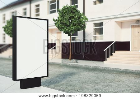 Empty ad banner placed outside next to building with nice porch. Advertisement concept. Mock up 3D Rendering