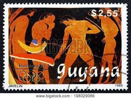 GUYANA - CIRCA 1989: a stamp printed in Guyana shows Javelin 1992 Summer Olympics Barcelona circa 1989