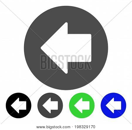 Previous Arrow flat vector illustration. Colored previous arrow, gray, black, blue, green pictogram variants. Flat icon style for application design.