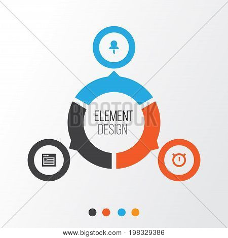 Interface Icons Set. Collection Of Web, Pushpin, Second Meter And Other Elements