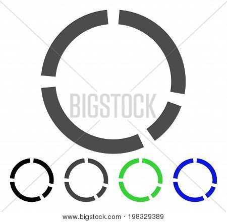 Round Diagram flat vector icon. Colored round diagram, gray, black, blue, green icon versions. Flat icon style for graphic design.