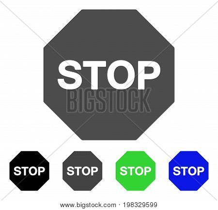 Stop Sign flat vector illustration. Colored stop sign, gray, black, blue, green icon variants. Flat icon style for web design.