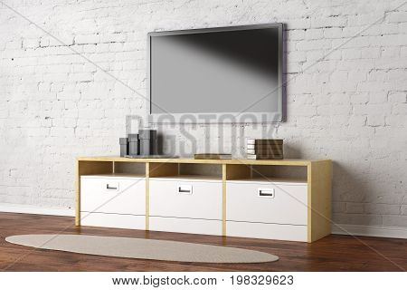 TV set with empty display in living room interior with white brick wall wooden floor and rug. Show concept. Mock up 3D Rendering