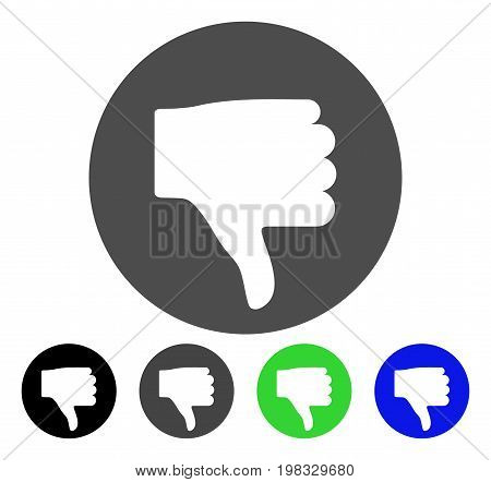 Thumb Down flat vector pictograph. Colored thumb down, gray, black, blue, green pictogram variants. Flat icon style for graphic design.