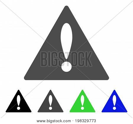 Warning flat vector pictogram. Colored warning, gray, black, blue, green pictogram versions. Flat icon style for web design.