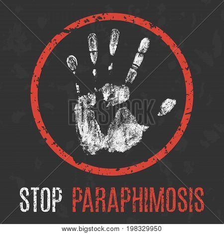 Conceptual vector illustration. The medical diagnosis. Stop paraphimosis.