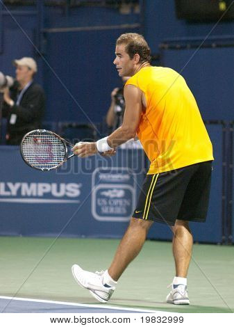 LOS ANGELES, CA. - JULY 27: Pete Sampras (picture) and Marat Safin play an exhibition match at the L.A. Tennis Open July 27th 2009 in Los Angeles.