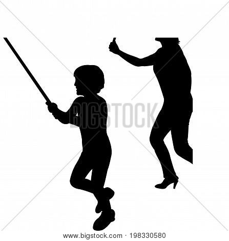a woman and a achild, silhouette vector