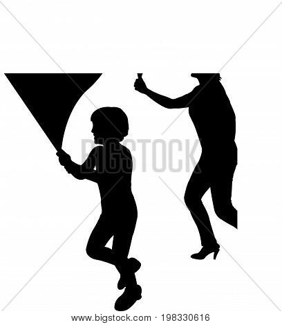 a woman and a child, lack color silhouette