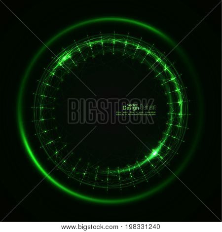 Abstract background with luminous swirling backdrop. Intersection curves. Glowing spiral. The energy flow tunnel.  Lights vector frame. green, jade, malachite