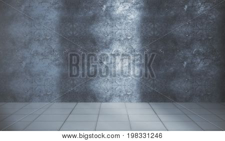 Empty unfurnished interior with textured concrete wall and tile floor. Advert concept. 3D Rendering