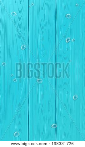 Wood vector. Realistic wooden pattern with water drops. Wood texture for Holiday decoration. Realistic Wood Blue color backdrop. Turquoise wood seasonal background.