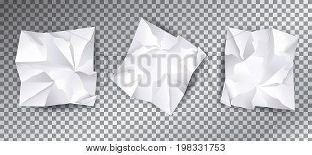 White Crumpled paper isolated with shadow on transparent effect background. Set of Graphic element, realistic crumple white paper. Vector illustration for High tech business concept. 3D paper texture design