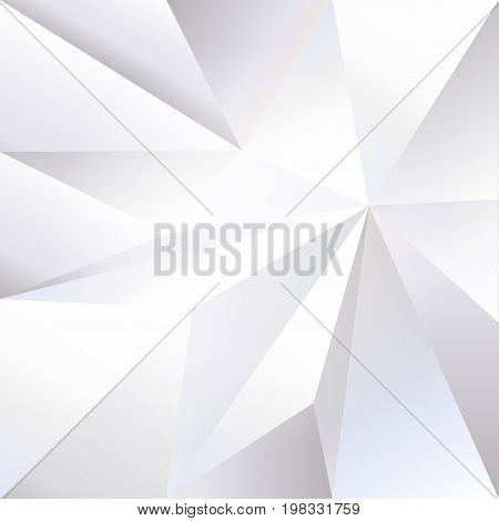 Abstract Monochrome Placard with geometric triangle shapes, diamond geometric 3d design, fractal elements. Crumpled paper texture pattern. High tech business brochure cover design. Trendy Vector banner dynamic texture.