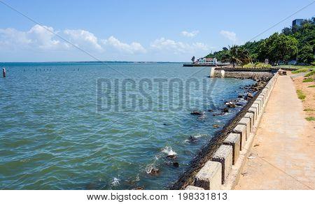 Beach promenade near Maputo bay in Mozambique