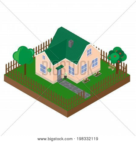 Isometric projection of the private house. Vector 3D model of the building on a white background.