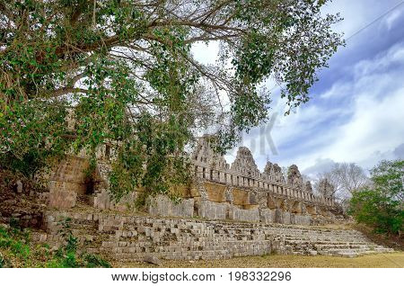 Ruin of the Pigeon Loft Complex in Uxmal Mexico