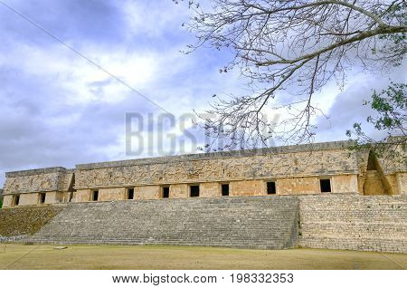 Ruins of the Nunnery Quadrangle in Uxmal Mexico