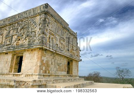 Corner of the Governor's Palace in Uxmal ruins in Mexico