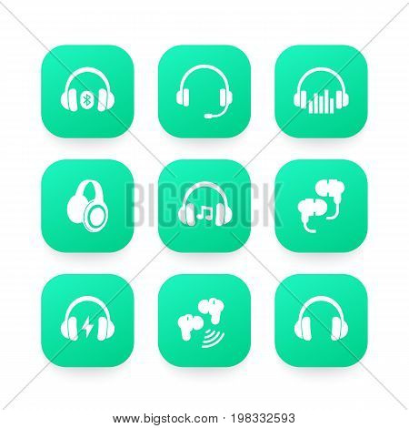 headphones, wireless earbuds, headsets icons, eps 10 file, easy to edit
