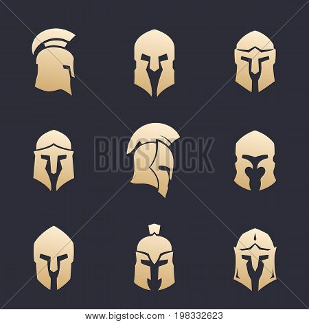 helmets set, spartan, greek, roman armor, eps 10 file, easy to edit
