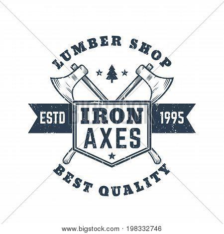 lumber shop vintage logo, emblem, badge with lumberjacks axes, eps 10 file, easy to edit