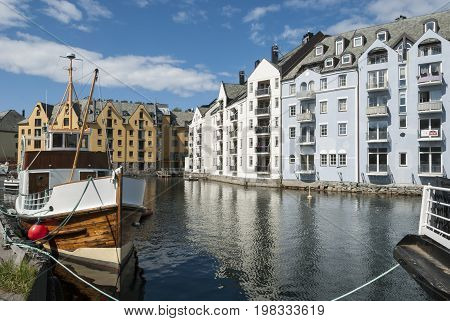 Alesund city Norway in art nouveau style