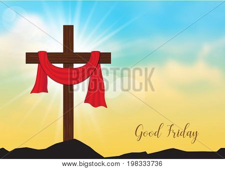Good Friday. Background with wooden cross and sun rays in the skyVector illustration EPS10.