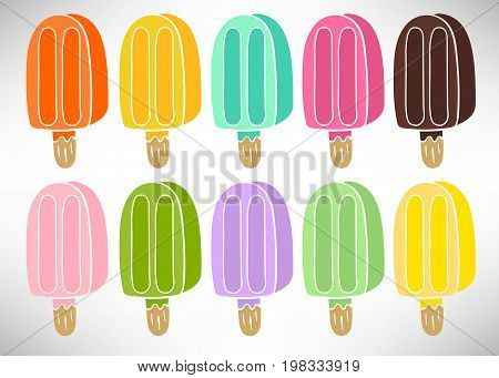 Colorful set of ice cream with fruit juice, chocolate Isolated on a white background. Popsicle on a stick. Vector illustration.