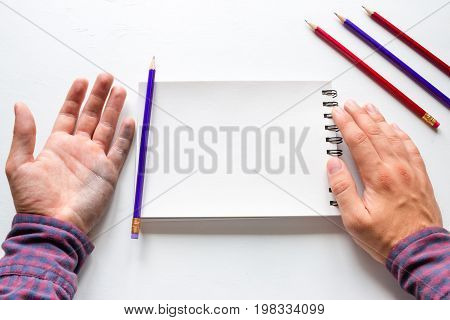 Dirty Left Hand After Writing And Notepad With Space For Text