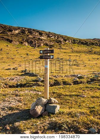 Trails crossing for Igaliku and Itilleq in southern Greenland