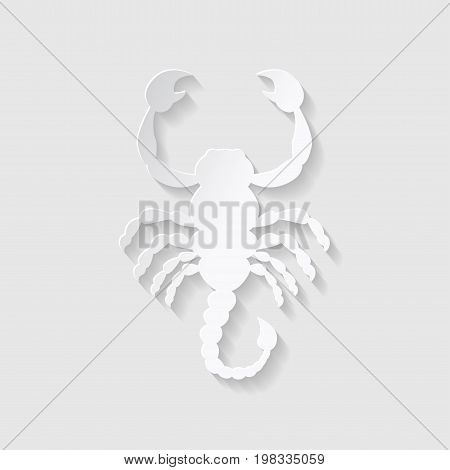 Horoscope paper cut style. Concept for Scorpio. Vector illustration.